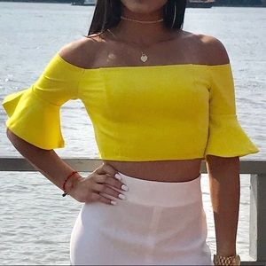 Yellow Off shoulder ruffled cropped top